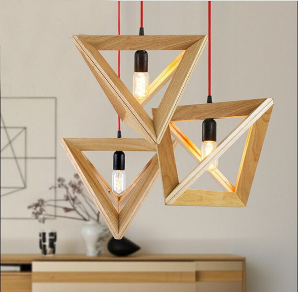 Vintage Cord Pendant Lights Wood