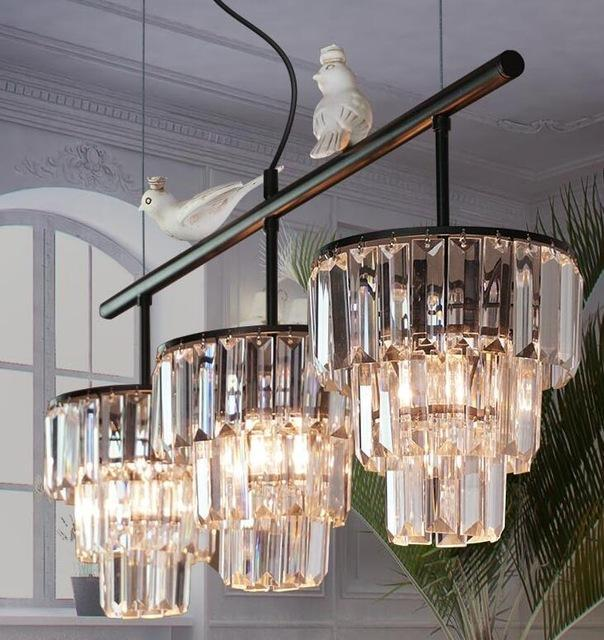 Vintage Crystal Pendant Droplight - American Style Retro Lamp With Birds at Lifeix Design