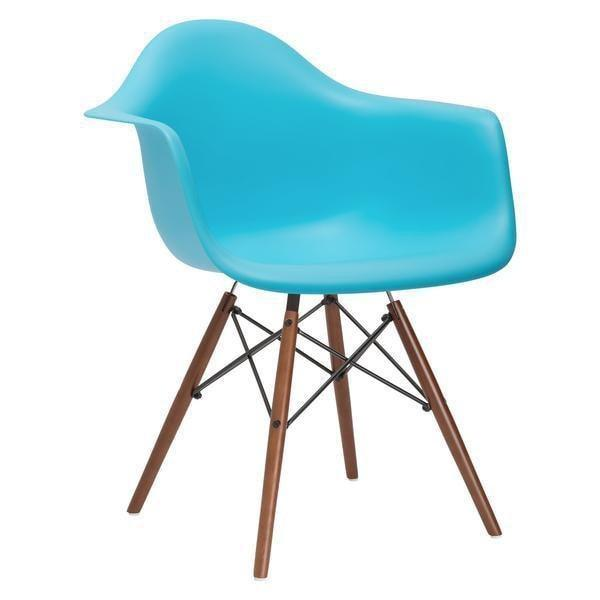 Dining Chair Aqua / Single Vortex Arm Chair Walnut Base