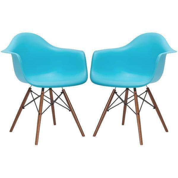 Chair Aqua / Set Of 2 Vortex Arm Chair Walnut Base (Set Of 2)