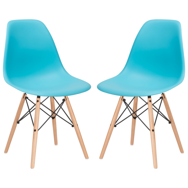 Dining Chair Aqua / Set Of 2 Vortex Side Chair With Walnut Legs(Set of 2)