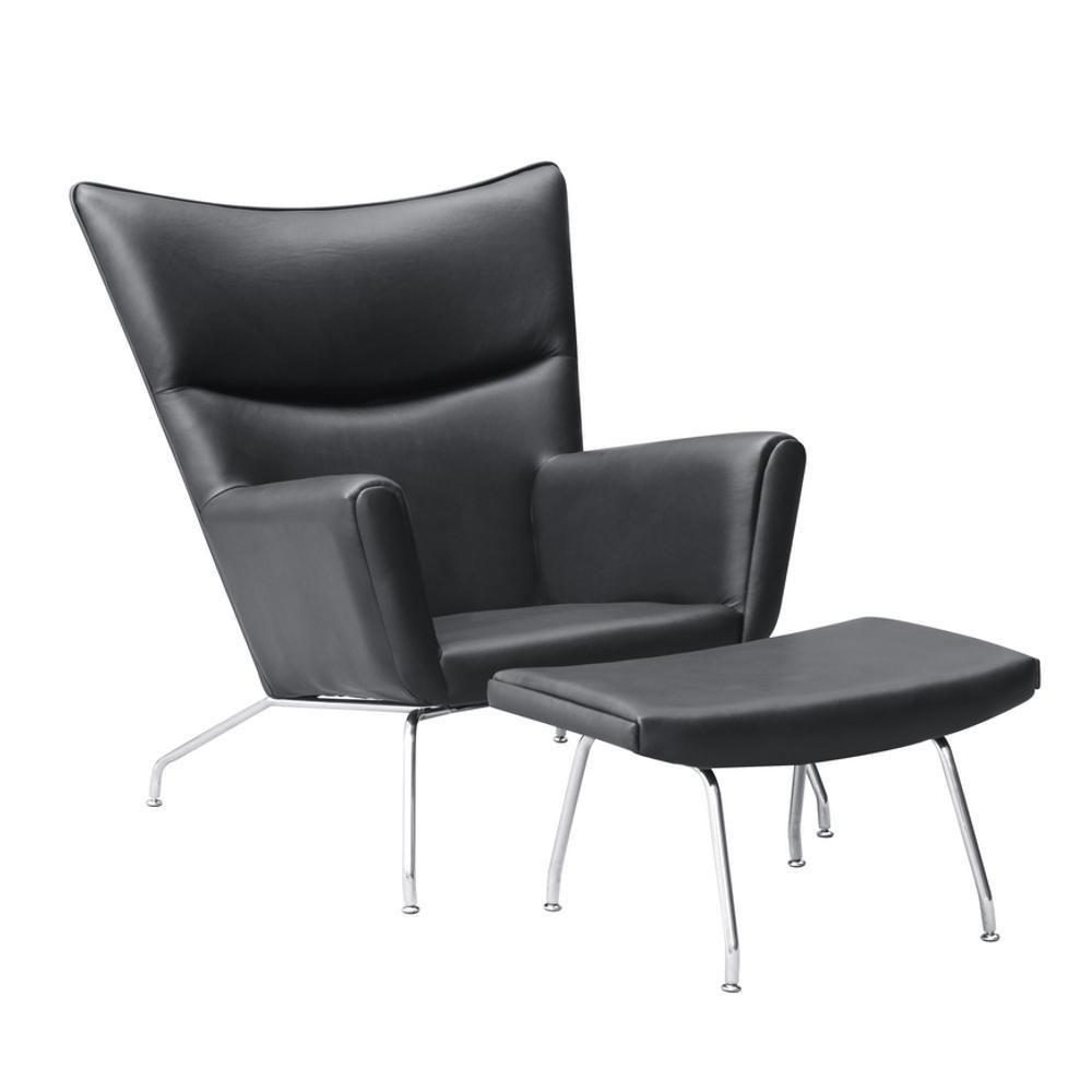 Black Wing Chair and Ottoman in Leather