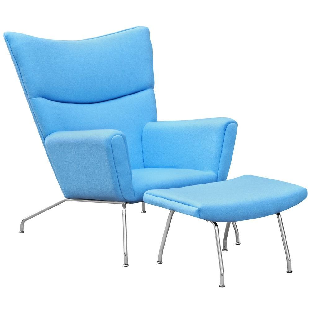 Blue Wing Chair and Ottoman in Wool