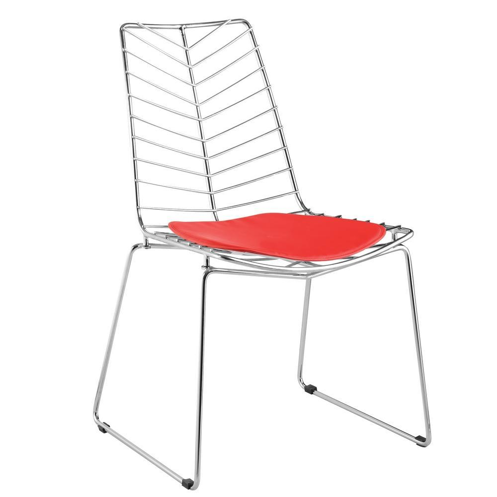 Red Wire Leaf Chair