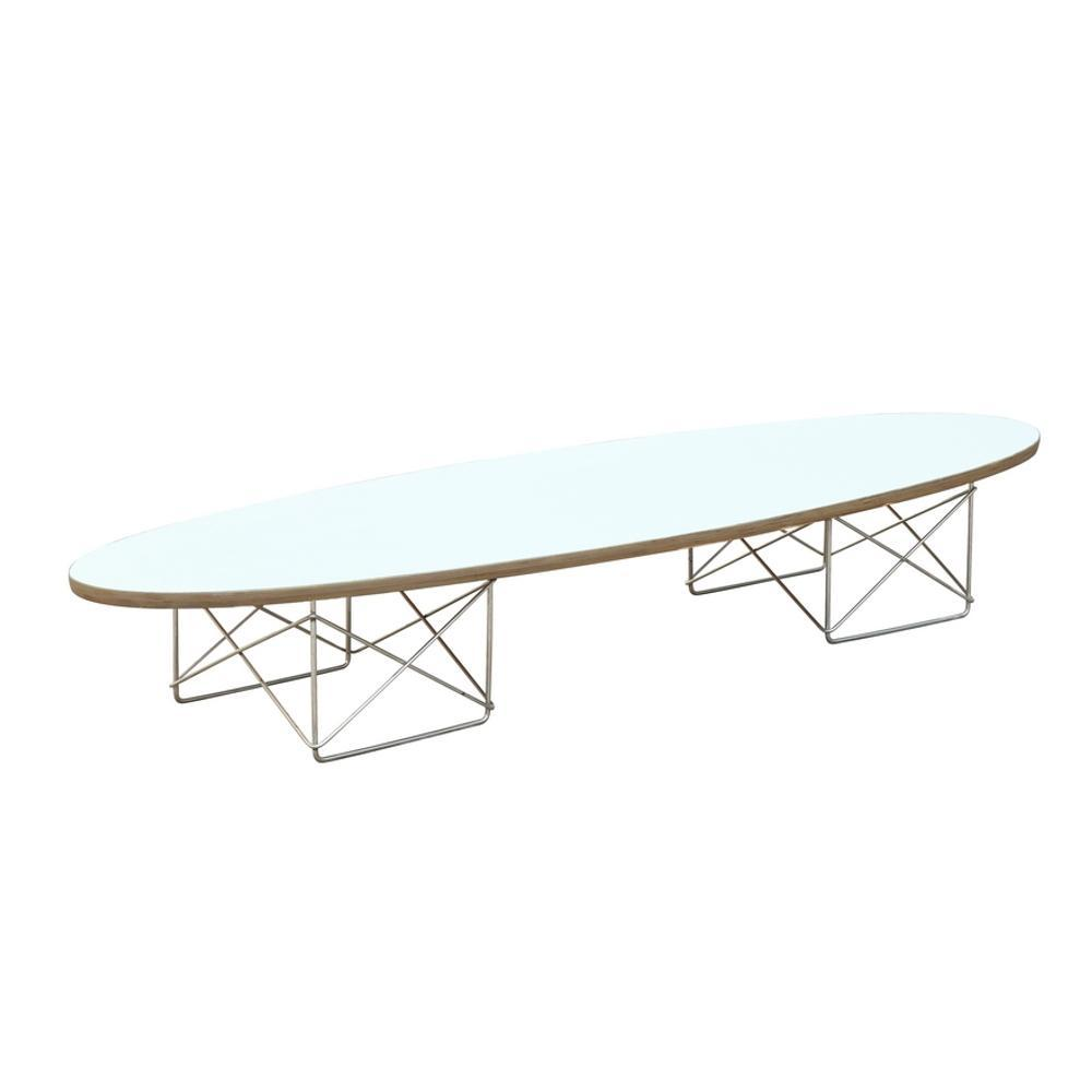 White Wire Wood Coffee Table