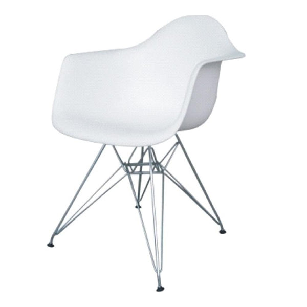 White WireLeg Dining Arm Chair