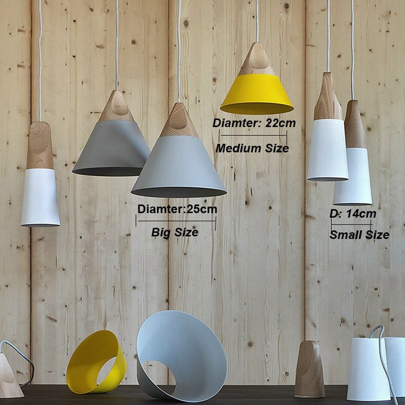 ceiling light Wood and Aluminum Colorful Pendant Lamps