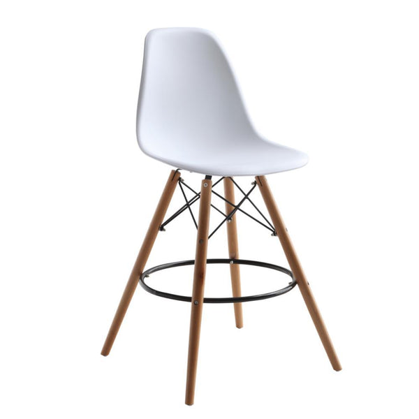 White Woodleg Counter Chair Round Base