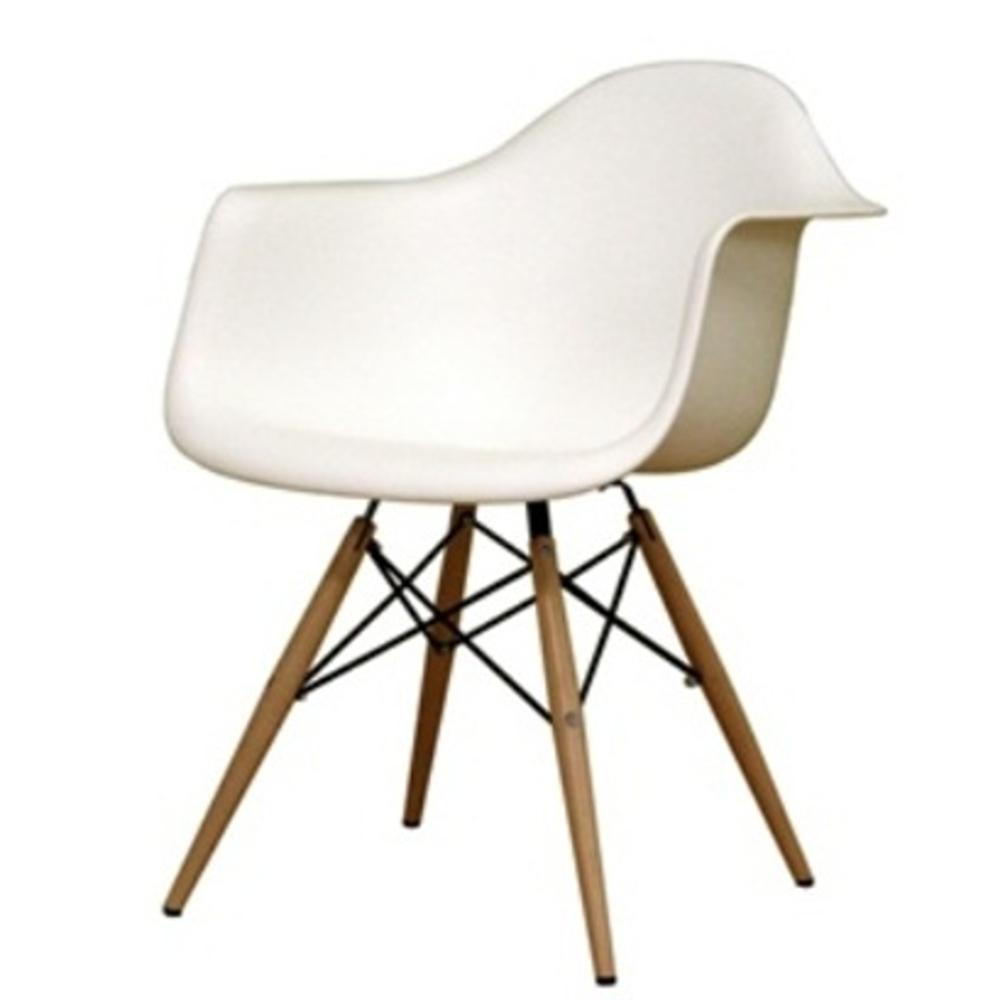 White WoodLeg Dining Arm Chair