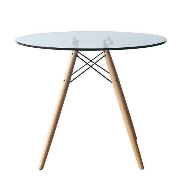 Clear WoodLeg Dining Table 48""
