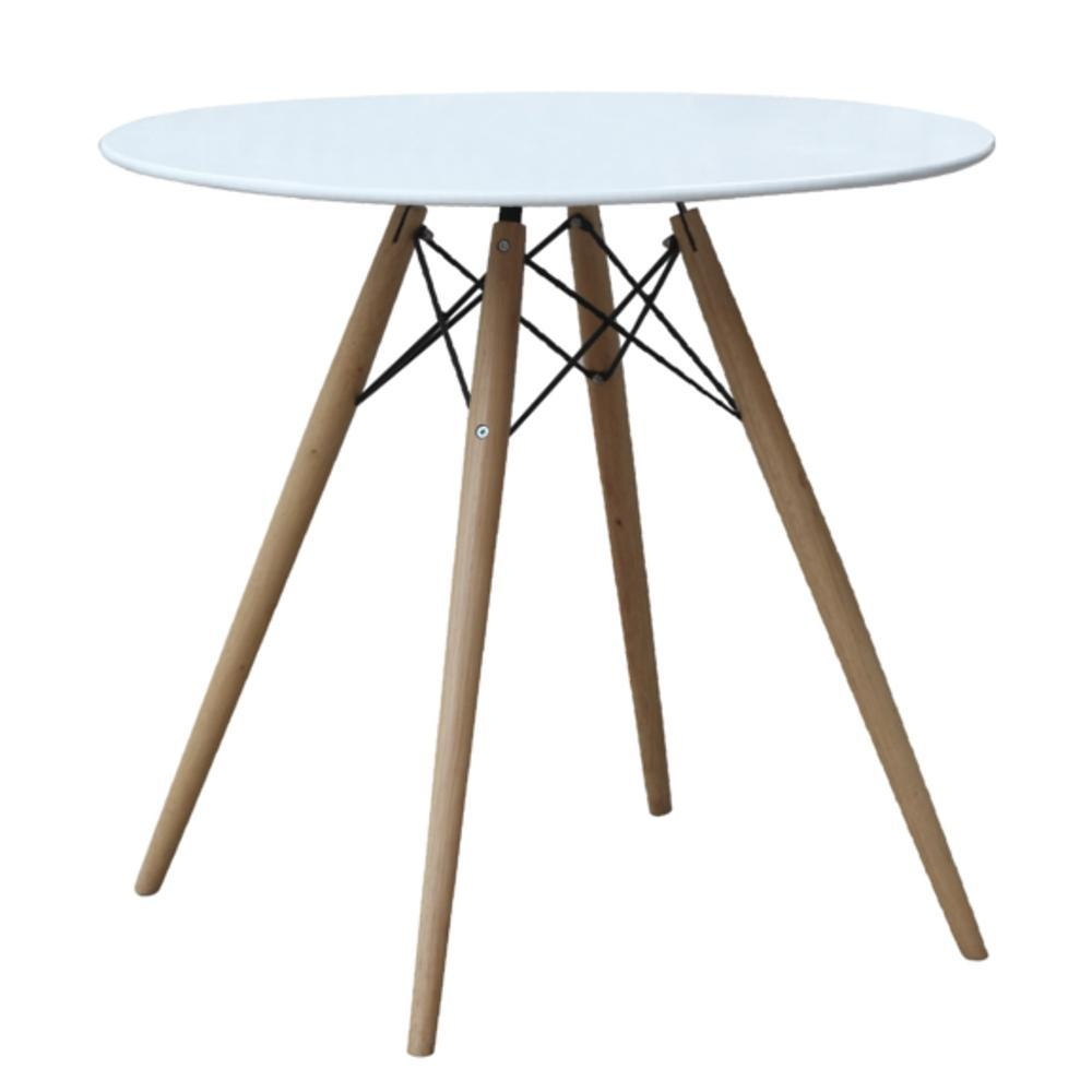 "White WoodLeg Dining Table 48"" Fiberglass Top"