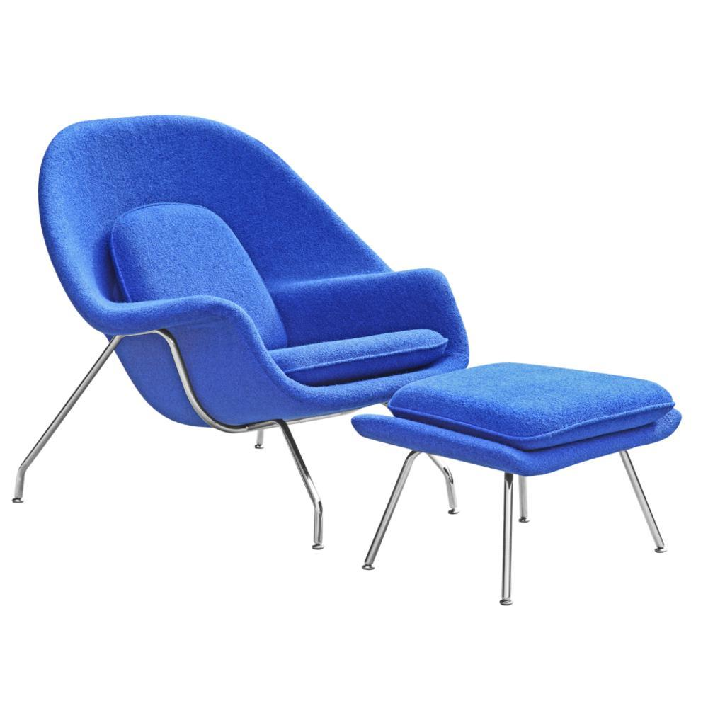 Blue Woom Chair and Ottoman