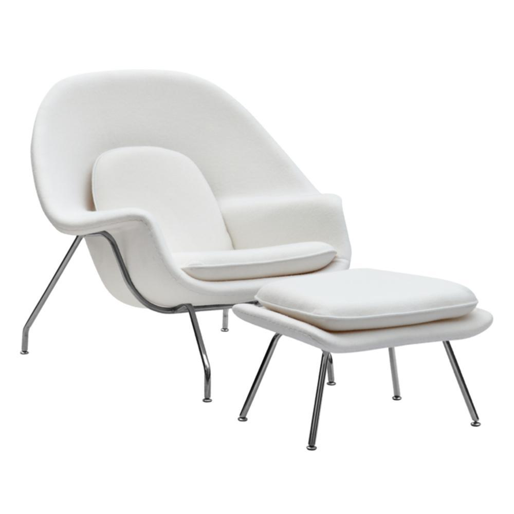 White Woom Chair and Ottoman