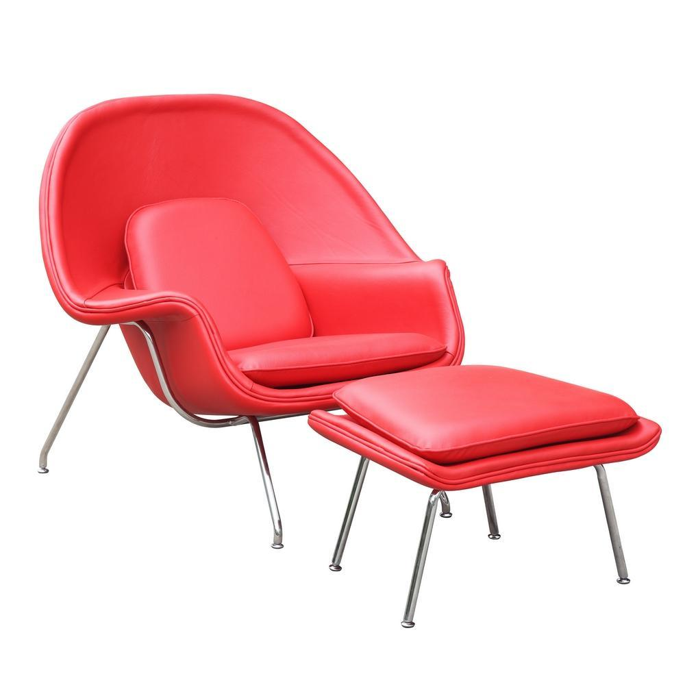 Red Woom Chair and Ottoman in Leather