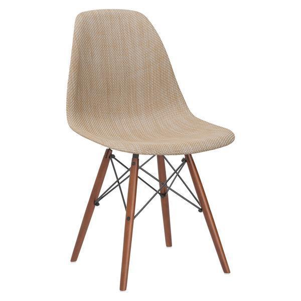 Dining Chair Beige / Single Woven Vortex Dining Chair with Walnut Base
