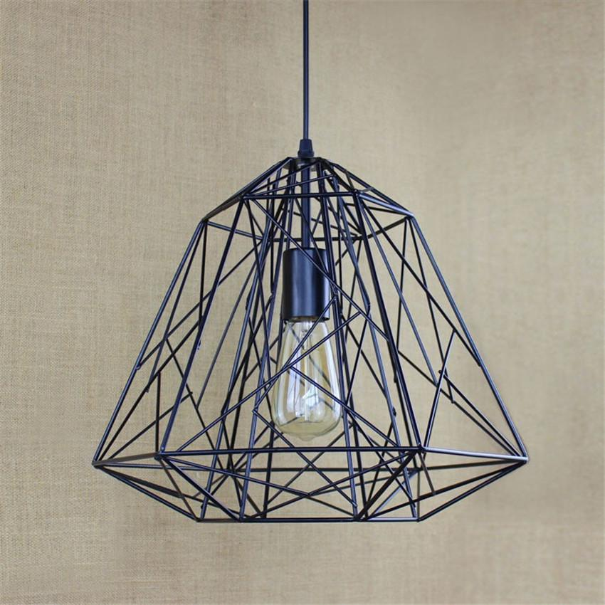 Wrought Iron Net - Industrial Pendant Light - Diamond Shape at Lifeix Design