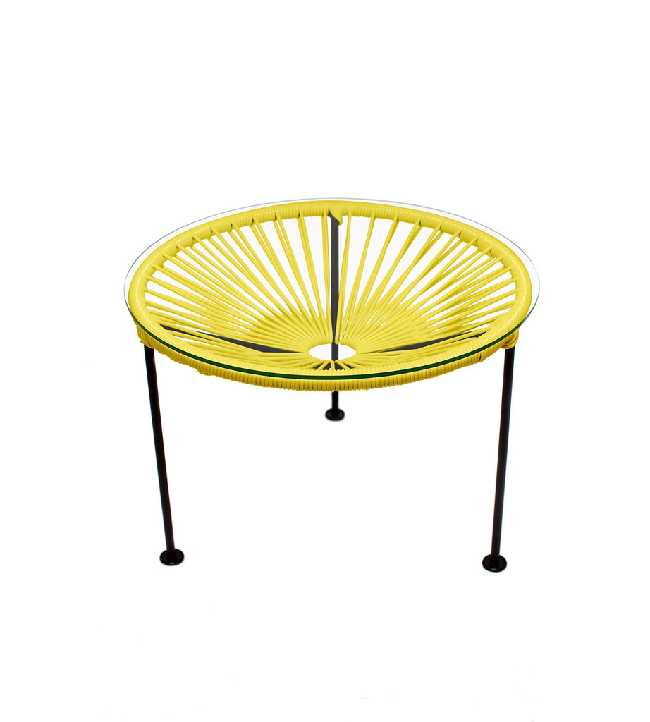 Side Tables Yellow Weave on Black Frame Zica Table on Black Frame