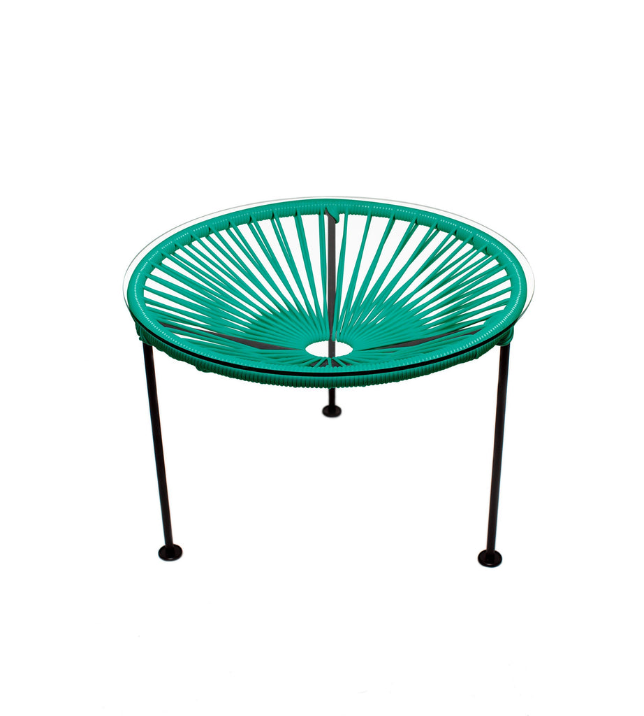 Side Tables Turquoise Weave on Black Frame Zica Table on Black Frame