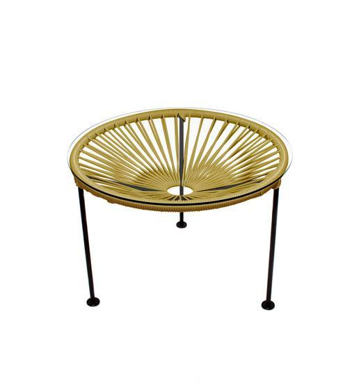 Side Tables Gold Weave on Black Frame Zica Table on Black Frame