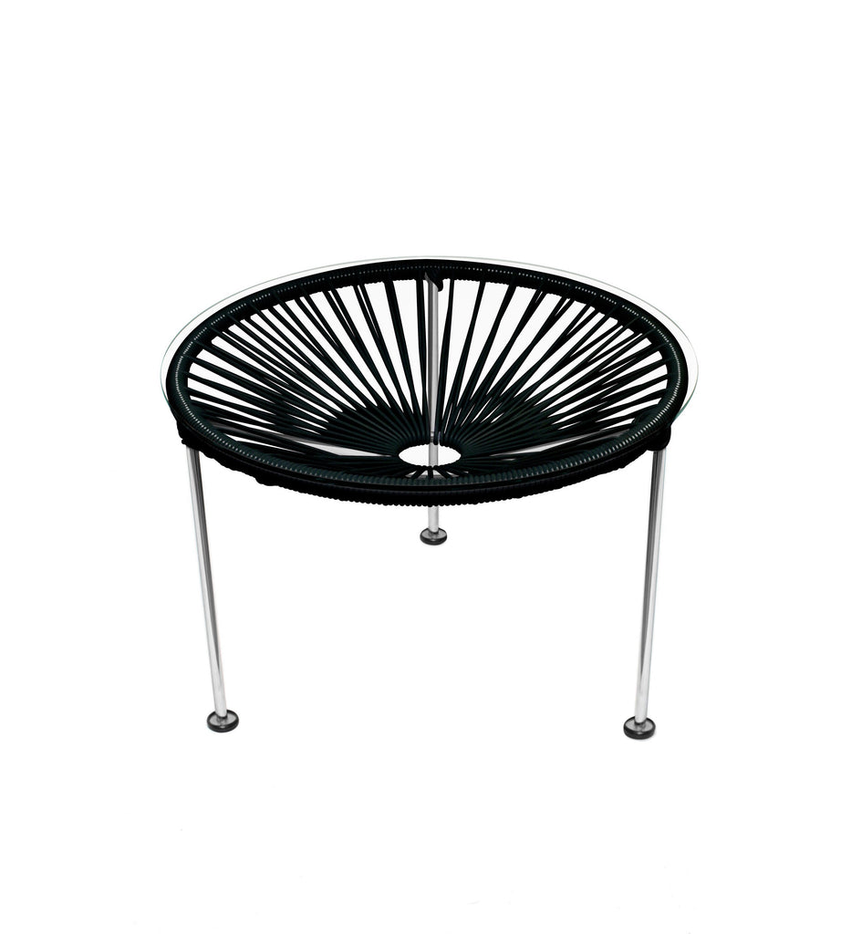 Side Tables Black weave on Chrome Frame Zica Table on Chrome Frame