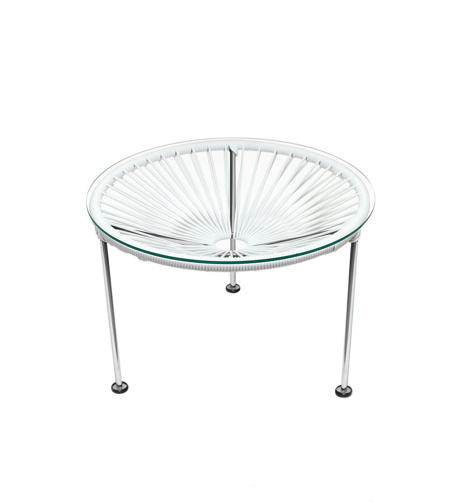 Side Tables White weave on Chrome Frame Zica Table on Chrome Frame