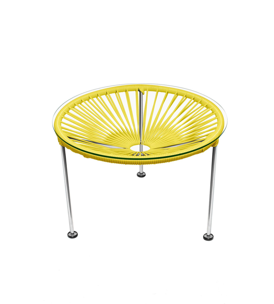 Side Tables Yellow weave on Chrome Frame Zica Table on Chrome Frame