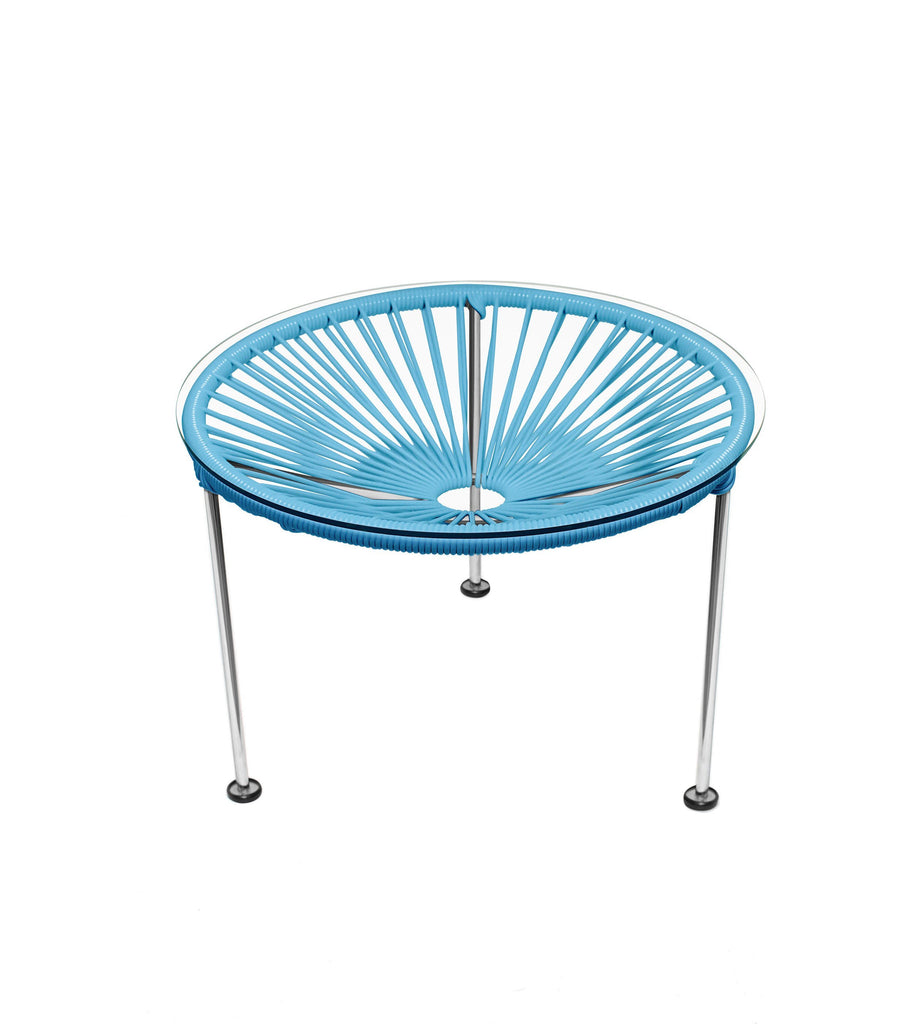 Side Tables Blue weave on Chrome Frame Zica Table on Chrome Frame