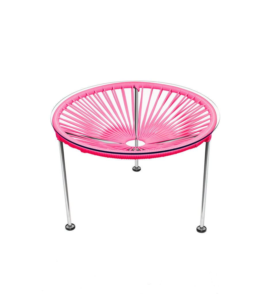Side Tables Pink weave on Chrome Frame Zica Table on Chrome Frame
