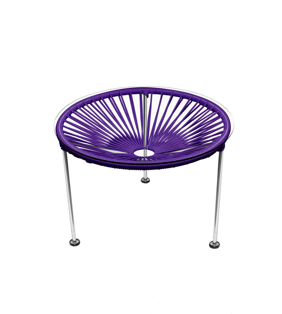 Side Tables Purple weave on Chrome Frame Zica Table on Chrome Frame