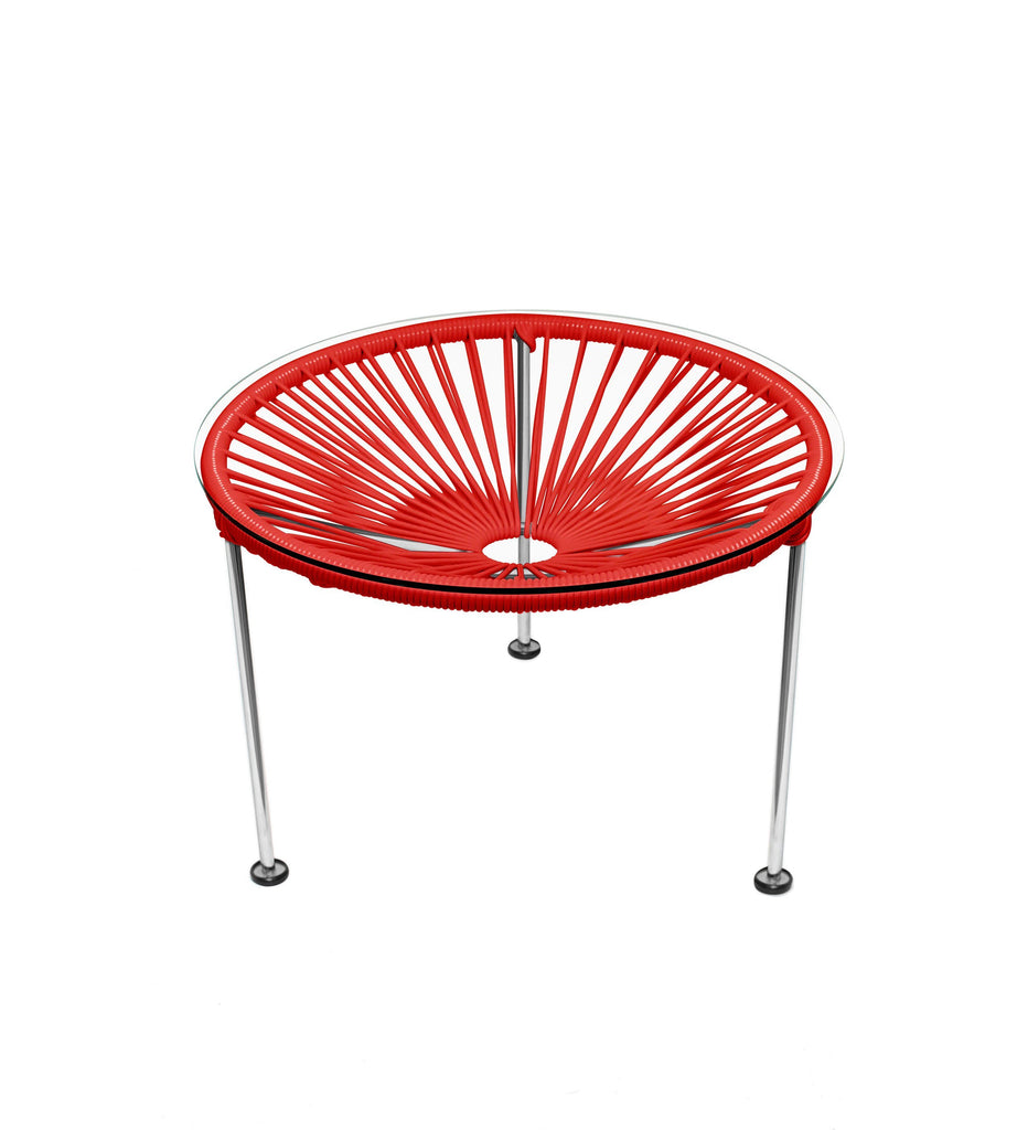 Side Tables Red weave on Chrome Frame Zica Table on Chrome Frame