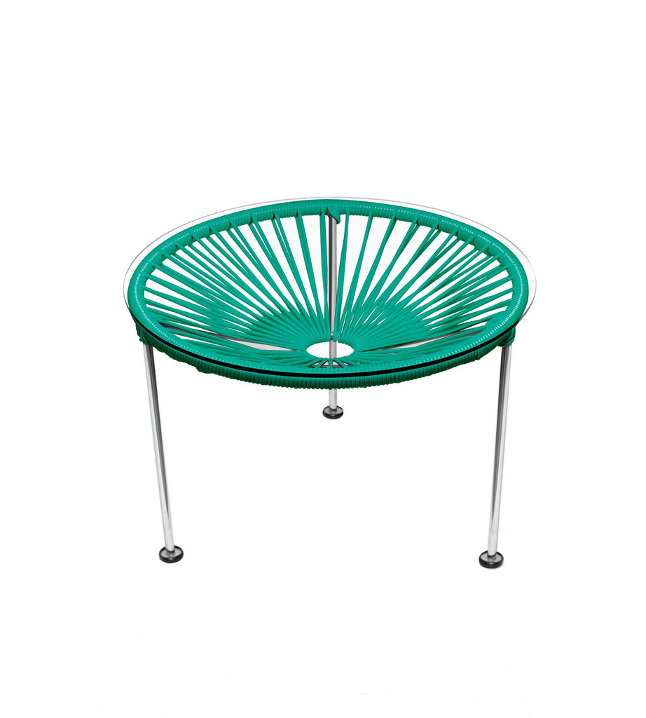 Side Tables Turquoise weave on Chrome Frame Zica Table on Chrome Frame