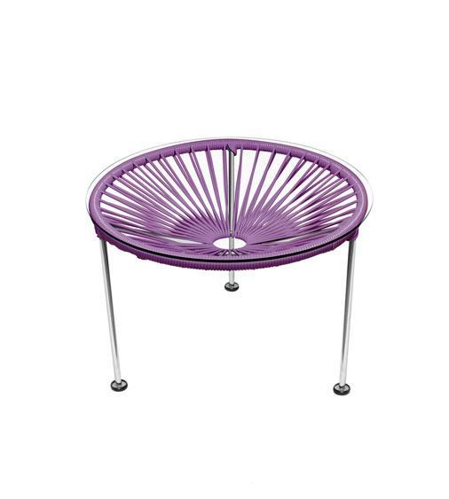 Side Tables Orchid Weave on Chrome Frame Zica Table on Chrome Frame