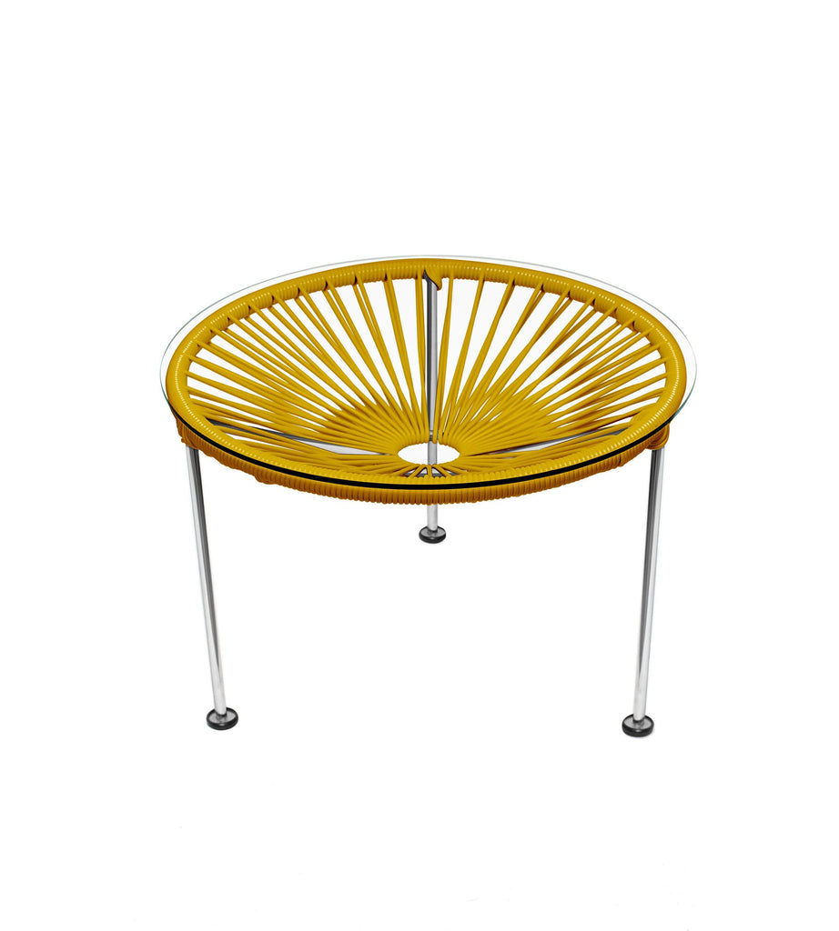 Side Tables Caramel Weave on Chrome Frame Zica Table on Chrome Frame