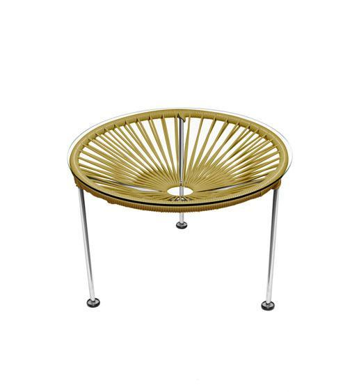 Side Tables Gold Weave on Chrome Frame Zica Table on Chrome Frame