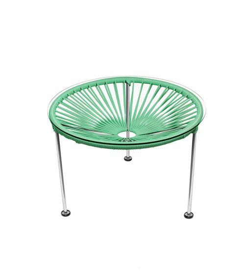 Side Tables Mint Weave on Chrome Frame Zica Table on Chrome Frame