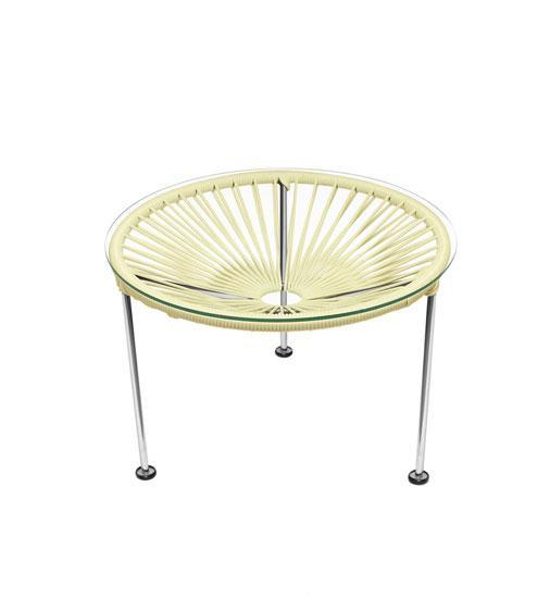 Side Tables Ivory Weave on Chrome Frame Zica Table on Chrome Frame
