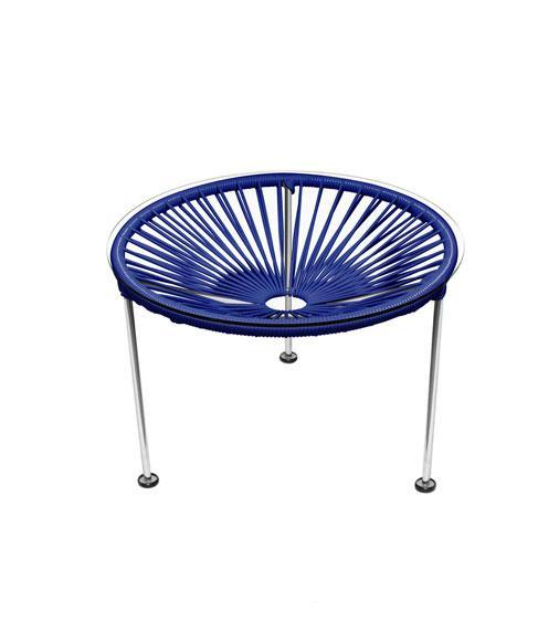 Side Tables Deep Blue Weave on Chrome Frame Zica Table on Chrome Frame