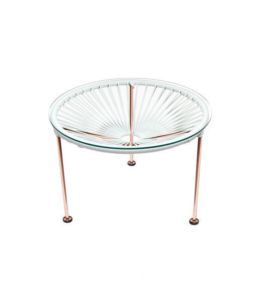 Side Tables white weave on Copper Frame Zica Table on Copper Frame