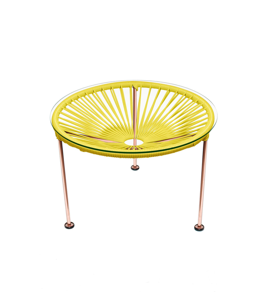 Side Tables yellow weave on Copper Frame Zica Table on Copper Frame