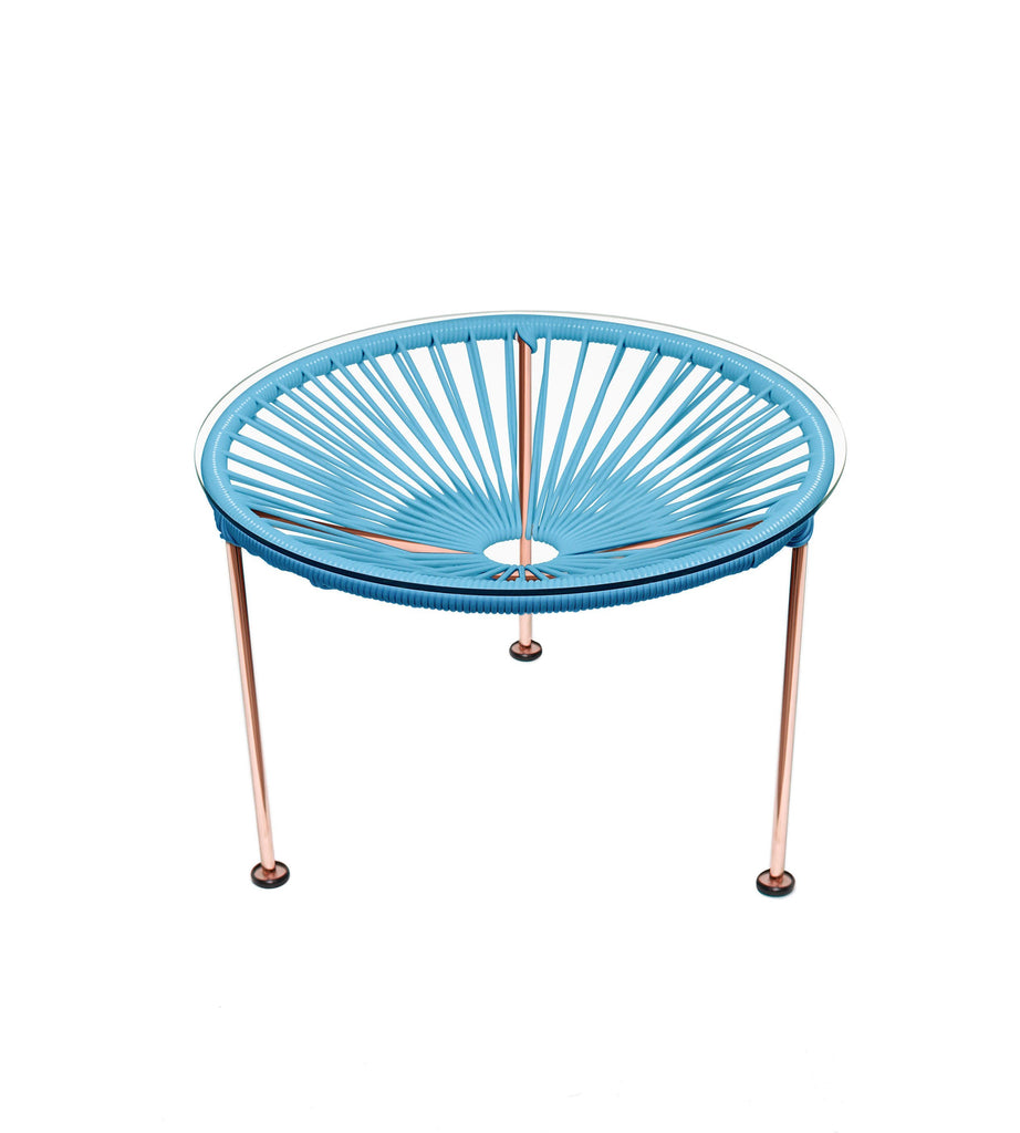 Side Tables blue weave on Copper Frame Zica Table on Copper Frame