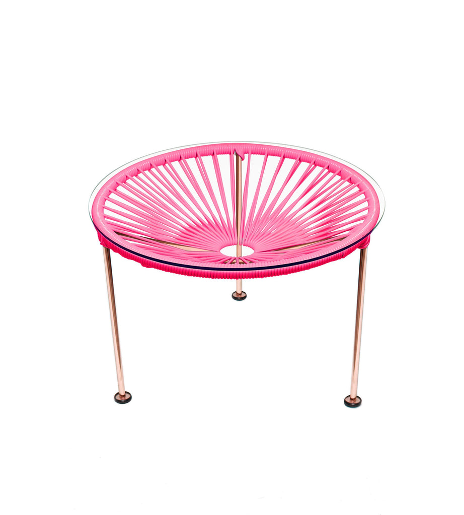 Side Tables pink weave on Copper Frame Zica Table on Copper Frame