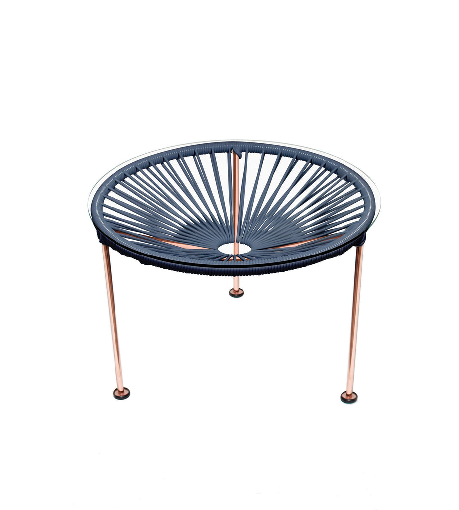 Side Tables grey weave on Copper Frame Zica Table on Copper Frame