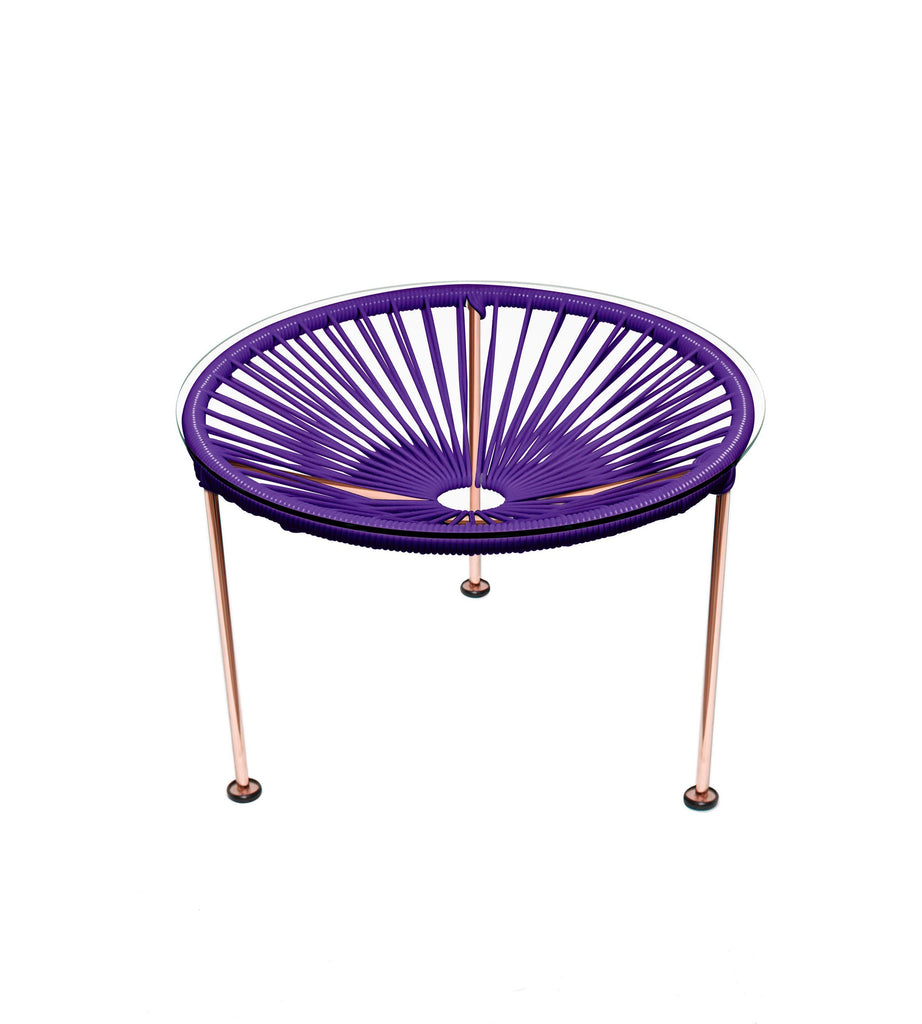 Side Tables purple weave on Copper Frame Zica Table on Copper Frame