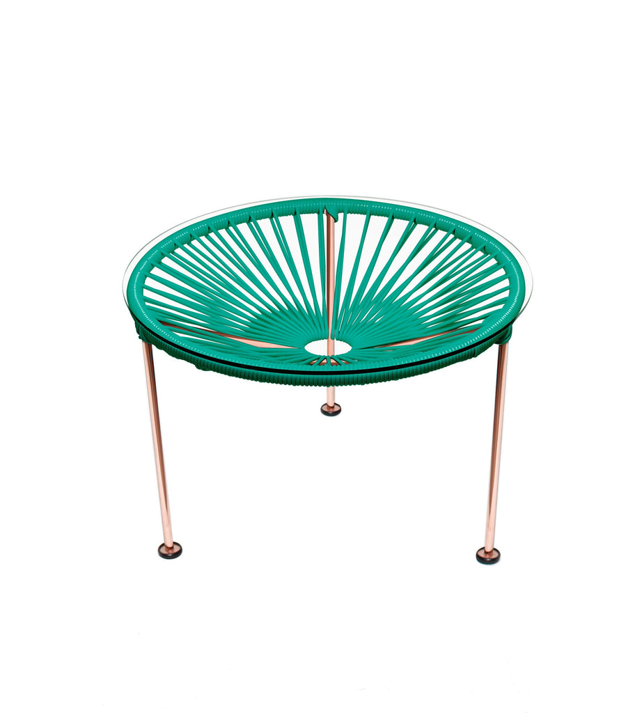 Side Tables turquoise weave on Copper Frame Zica Table on Copper Frame