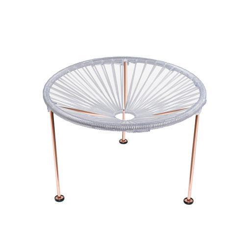 Side Tables Clear Weave on Copper Frame Zica Table on Copper Frame