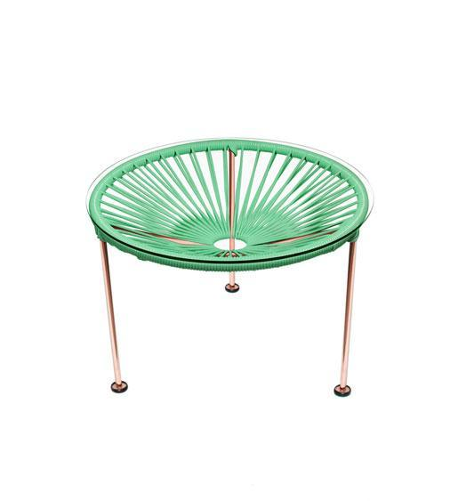 Side Tables Mint Weave on Copper Frame Zica Table on Copper Frame