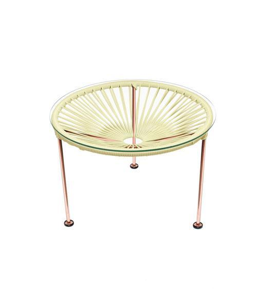 Side Tables Ivory Weave on Copper Frame Zica Table on Copper Frame