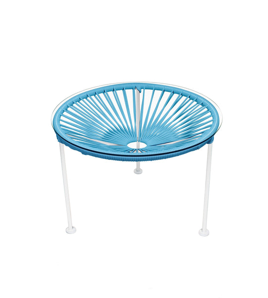 Side Tables Blue Weave on White Frame Zica Table on White Frame