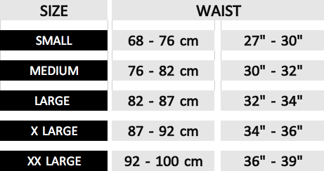The Titan swim trunks Ochox size chart