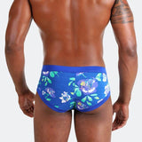 Charming Dude Blue men's briefs with beautiful floral prints that makes these designer briefs both comfortable and and creative
